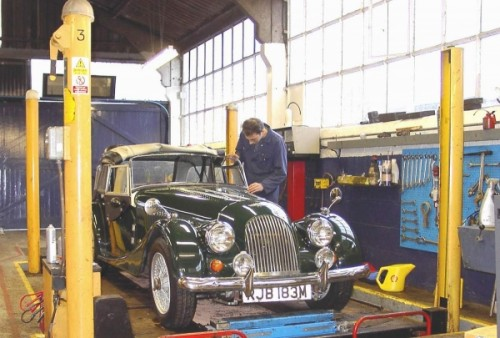 Morgan car in Allon White Sports Cars Workshop